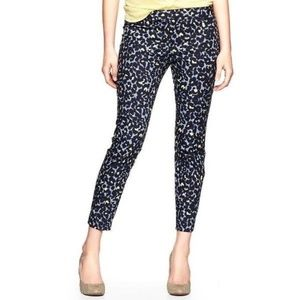 Gap Slim Cropped Ankle Pants 8 Blue Yellow Leopard